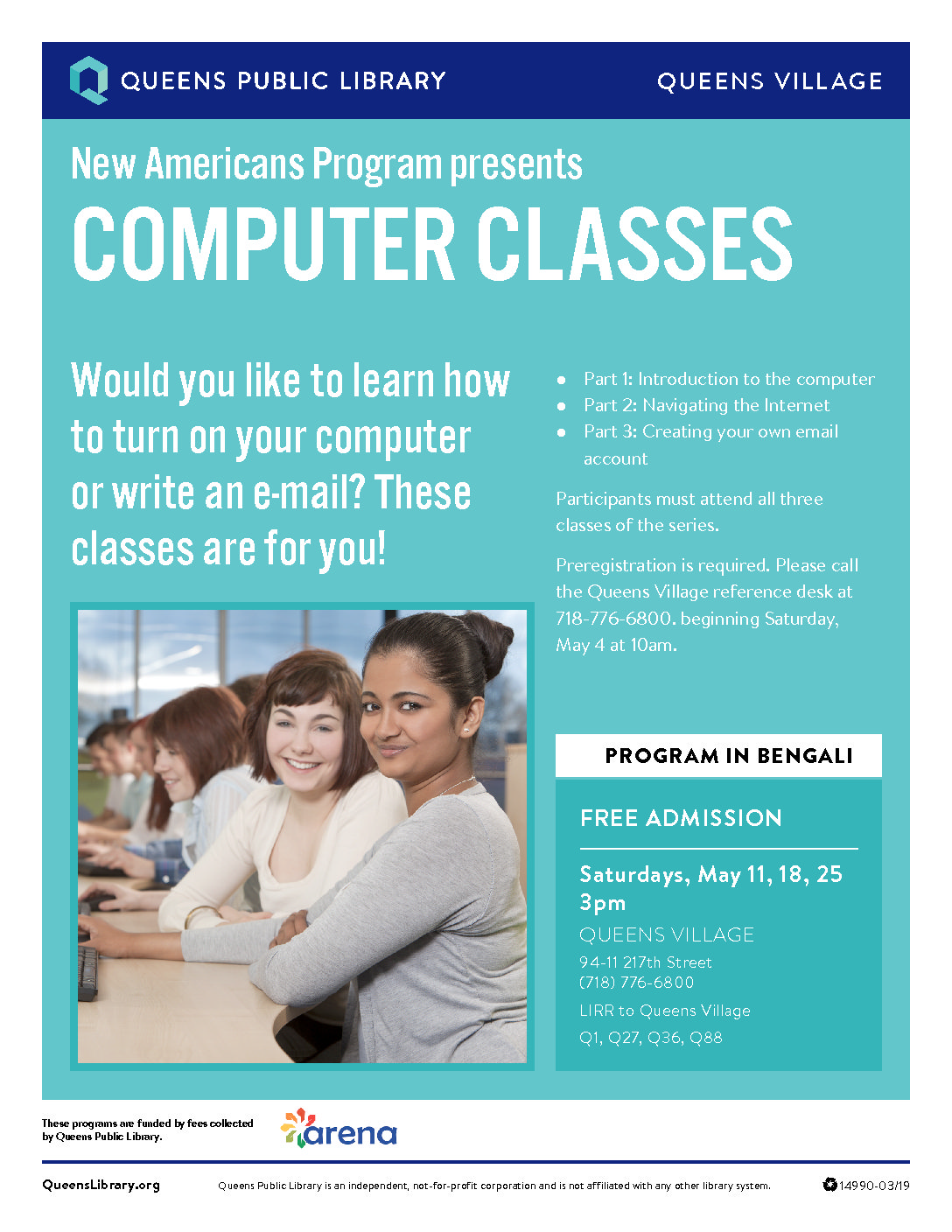 Bengali Computer Class at Queens Village Library
