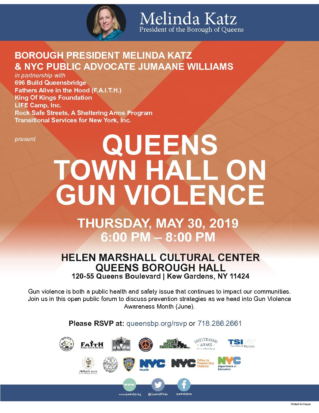 BOROUGH PRESIDENT KATZ, PUBLIC ADVOCATE WILLIAMS, COMMUNITY-BASED ORGANIZATIONS ANNOUNCE QUEENS TOWN HALL ON GUN VIOLENCE Thursday, May 30