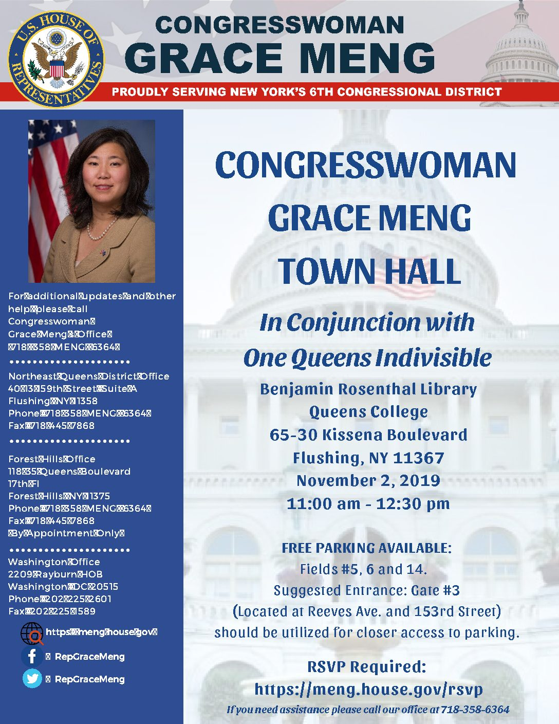 U.S. REP. MENG TO HOLD TOWN HALL ON NOVEMBER 2ND